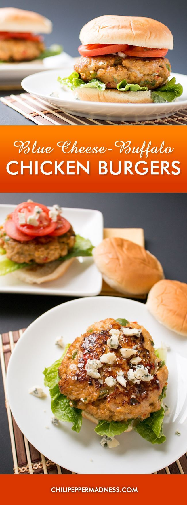 Blue Cheese-Buffalo Chicken Burgers - These chicken burgers are made with tangy Buffalo sauce and they're overflowing with blue cheese that's been stuffed into the center. They're juicy and tender and yes, you will want more.