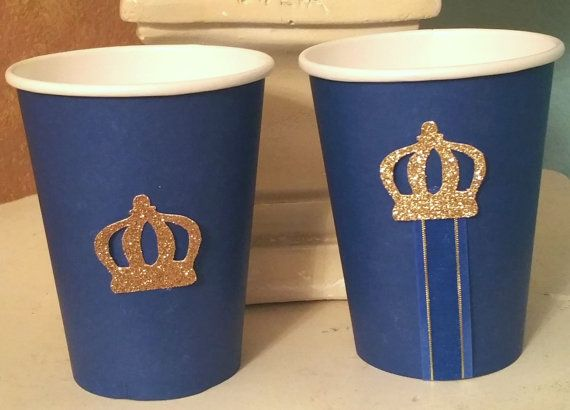 Royal Little Prince crown 12 oz paper cups for baby shower birthday party bachelor wedding retirement graduation gender reveal blue and gold anniversary wedding twins Disney Prince decor tableware fairy tale onederland first 1st one birthday