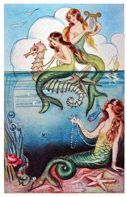 bumble button: Free images of Mermaids for you to enjoy. Illustrations from Antique Children's books and paintings by John Waterhouse