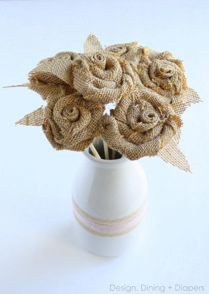 DIY Rosette Tutorial and Burlap Bouquet