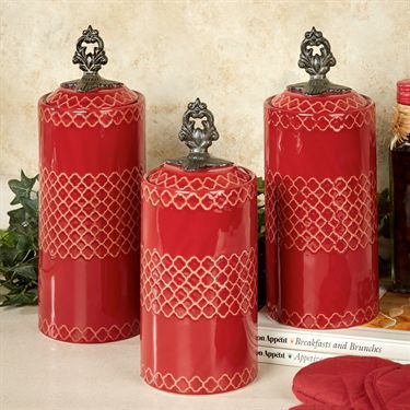 Safiya Kitchen Canister Set Red Set of Three...love