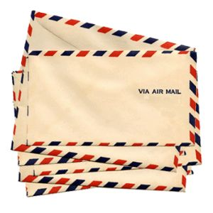 air mail envelopes, with the letter written on onion skin paper....very lightweight,,,sent to your penpal. Mine was in Japan.