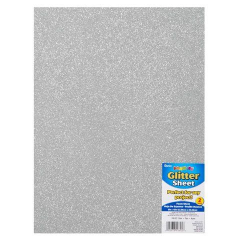 Bulk Buy: Darice Foamies Glitter Foam Sheet Silver 2mm thick 9 x 12 inches 106-922