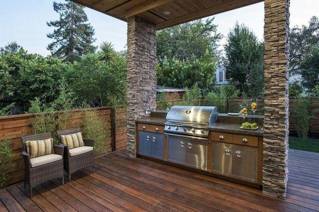 Garten Gestaltung Ideen Grill freistehend Terrasse Bodenbelag - grillkamin bauen diese tipps werden sie bei der planung unterstutzen