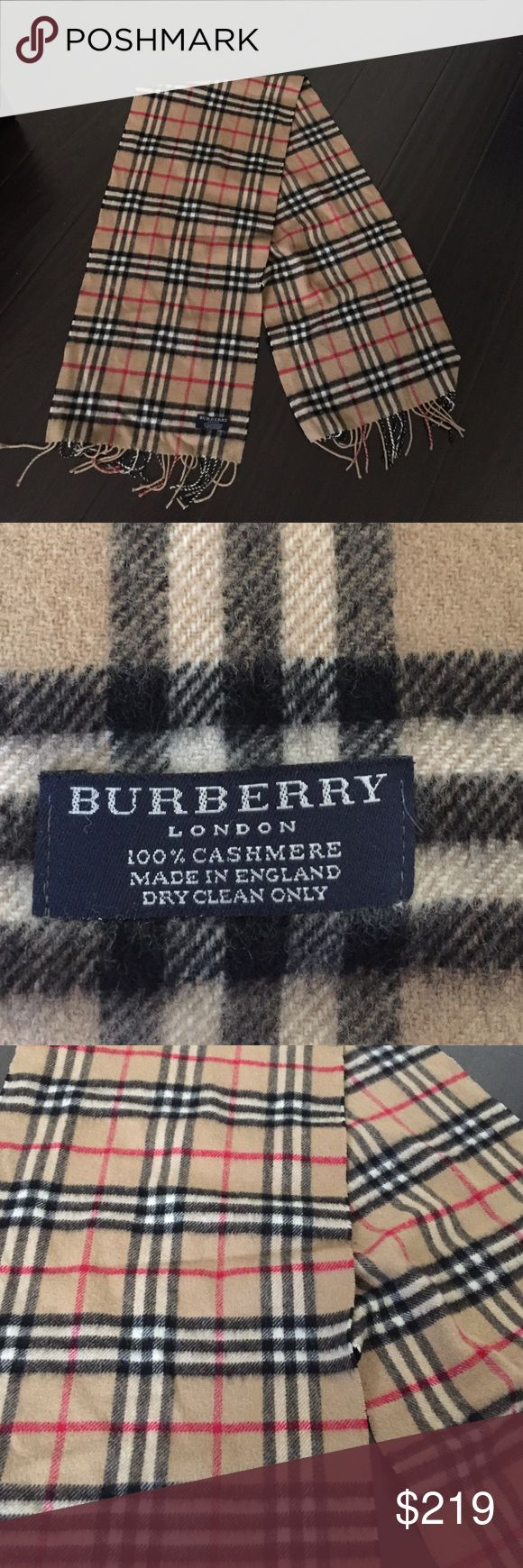100% authentic Burberry cashmere scarf Used but in good condition. 100% authentic Burberry scarf. Made in England. 100% cashmere. Dry clean only. Our hard from the Burberry store years back. 🚫No trades. 🚫No exchanges. 🚫No refunds. 🚫No pay pal 🚫 Burberry Accessories Scarves & Wraps