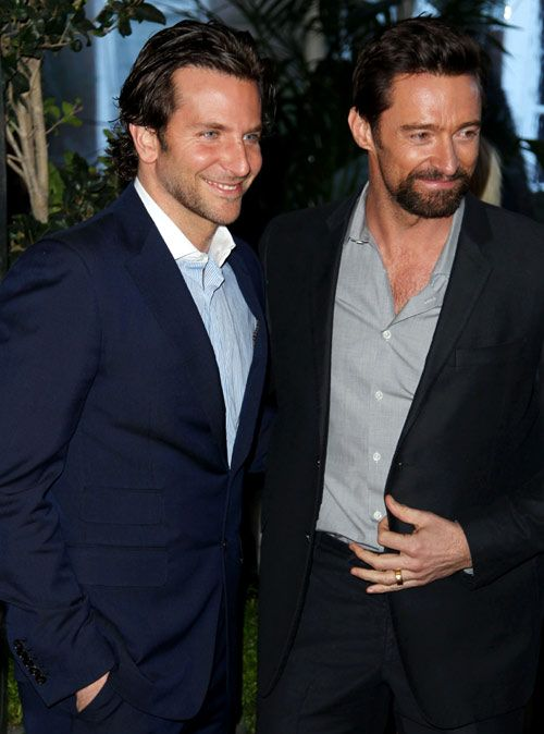 Hugh Jackman & Bradley Cooper. The only two men to jump up immediately to help Jennifer Lawrence when she slipped going up the steps at the Oscars. 'Nuf said!