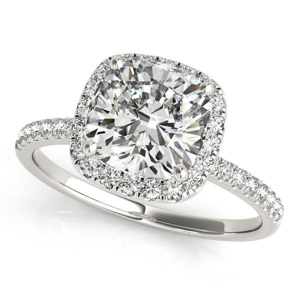 1/3 ct tw Halo Princess & Cushion Cut Engagement Ring with F Color VS Clarity GIA Certified Diamond