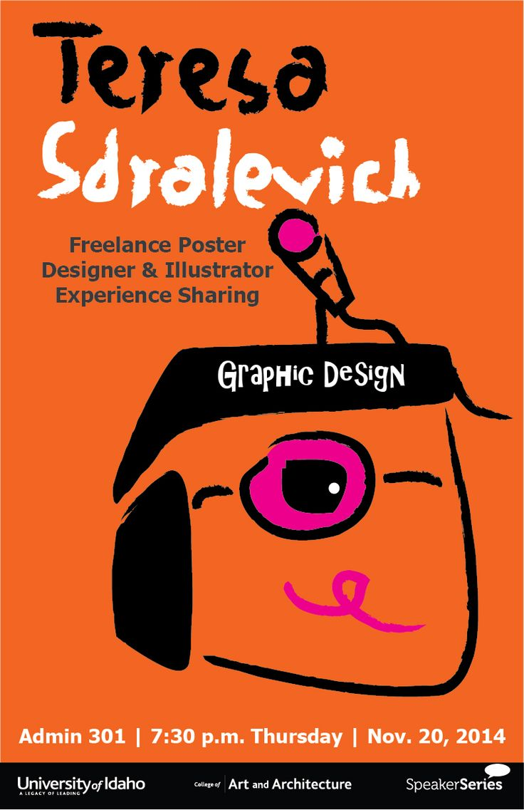 *School project*  Find an art designer; Pretend the school is inviting the designer so make a poster and related items based on his/her style. I chose the Italian designer Teresa Sdralevich.