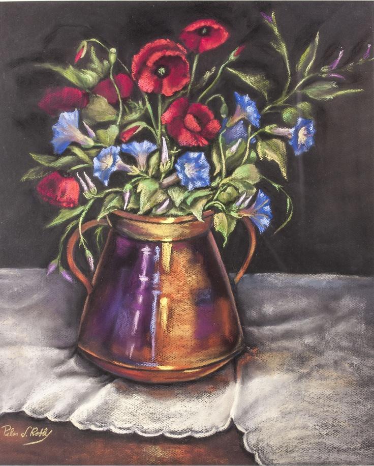Pilar S. Robles. Amapolas y petunias. Pastel.