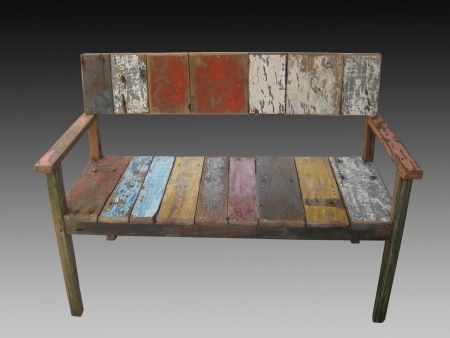 recycled wood furniture | Reclaimed Teak Furniture || Bench Recycled boat wood || Finishing ...