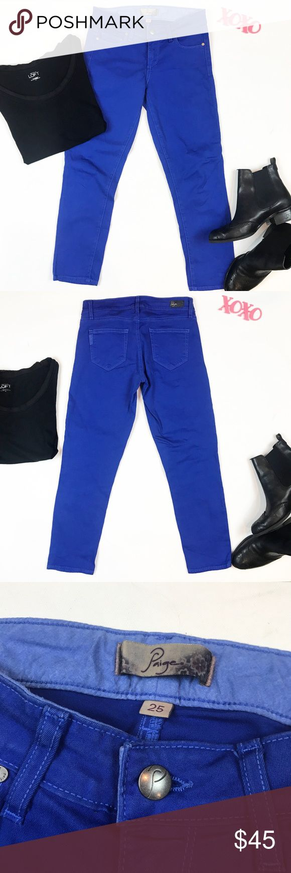 Paige cobalt blue skinny crop jeans size 25 Paige cobalt blue skinny crop jeans size 25. Excellent condition! Waist 13, rise 7.5, inseam 24. Cotton spandex so they have stretch! Perfect spring color cobalt blue skinny crop Paige jeans! Paige Jeans Jeans Ankle & Cropped