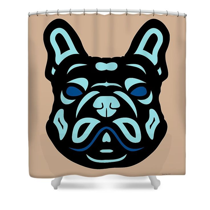 Shower curtain French Bulldog Francis - Dog Design - Hazelnut, Island Paradise, Lapis Blue  by Manuel Süess | Order at: http://artprintsofmanuel.com/products/french-bulldog-francis-dog-design-hazelnut-island-paradise-lapis-blue-manuel-sueess-shower-curtain.html