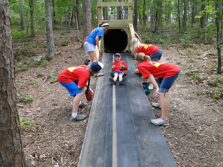 Slide made out of quot corrugated culvert pipe
