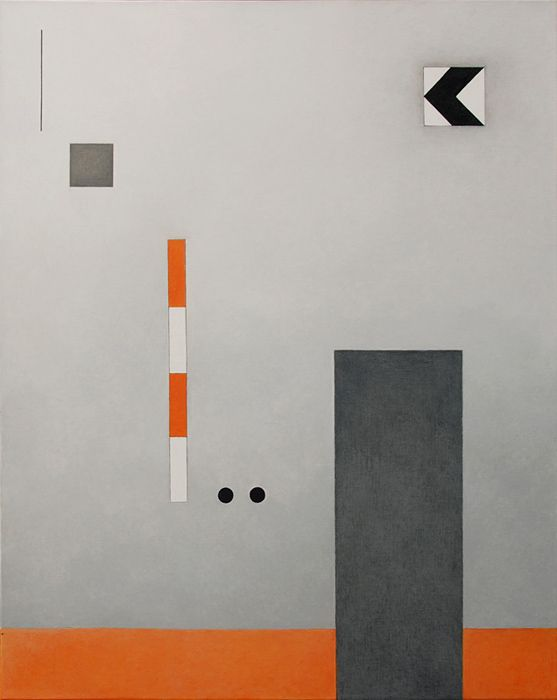Rita Rodner 2008, acrylic on canvas.  Abstract, geometric composition.