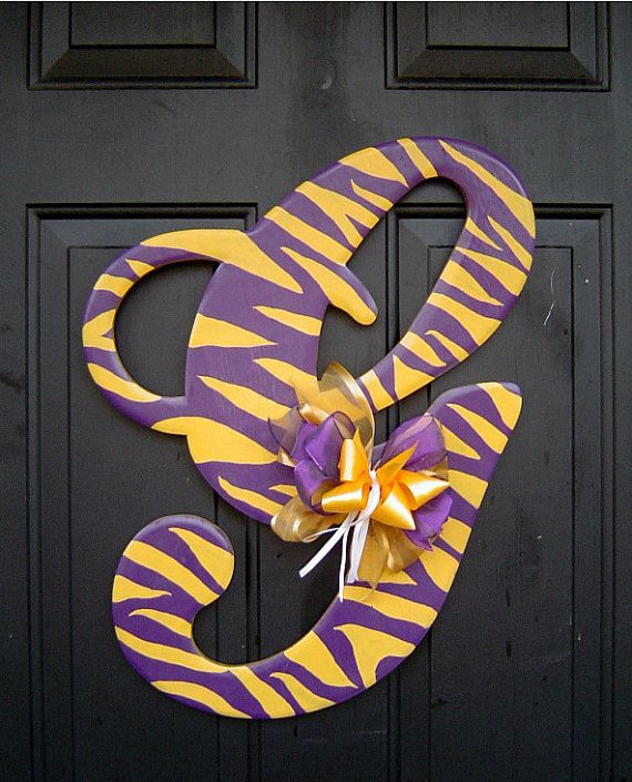 lsu wooden letter g door hanger by rkdragonfly on etsy With lsu wooden letters