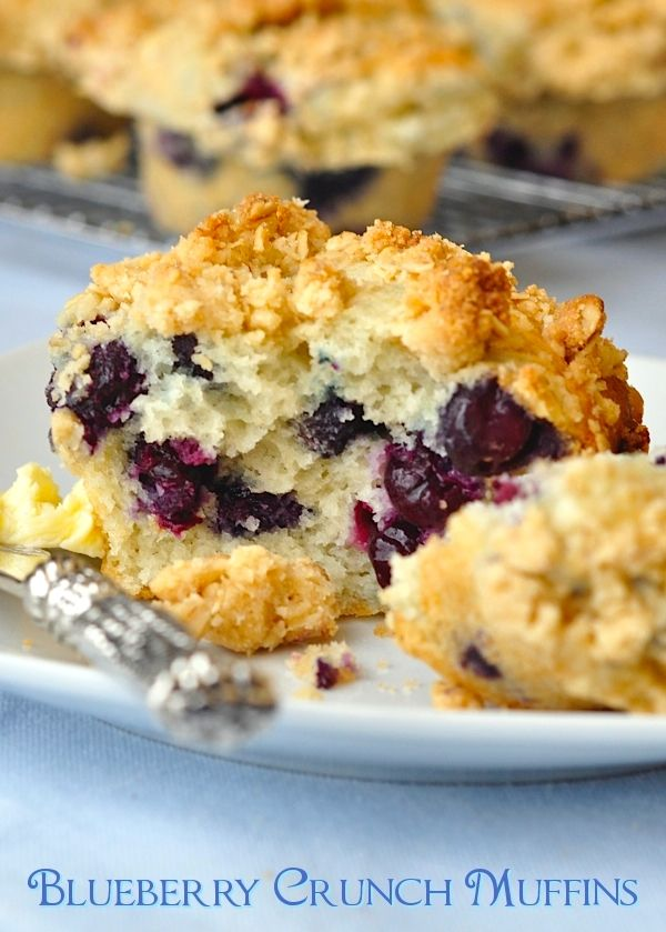 This blueberry crunch version is a delicious twist on a classic blueberry muffin, adding a buttery oatmeal streusel topping to the moist tender muffin base.