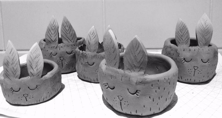 Claire Paveley ceramic bunny pots