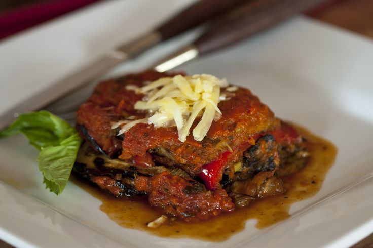 This is my version of ratatouille with layered with, wood fire char grilled, eggplant, capsicum and zucchini.