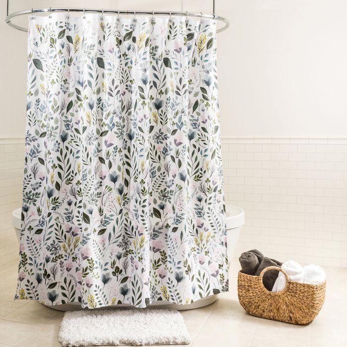 Bungalow Rose Tekamah Floral Fabric Single Shower Curtain
