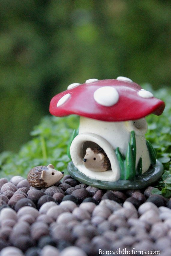 Miniature mushroom house tiny fairy garden by Beneaththeferns