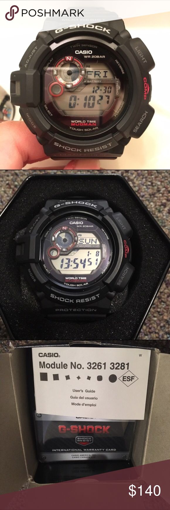 Casio G-Shock Mudman Watch Almost new (with original box, tag, and instructions) Mudman digital men's watch model G-9300-1. Worn about 3 times tops so listed as NWT (sorry!). No wear and tear or any marks like I said it's basically brand new. The only reason I'm selling is because it's too big for me! [Case diameter: 48mm - Case thickness: 17mm - Band width: 26mm - Weight: 2.40oz] Price is firm sorry! (This is also from an old listing that was bought and cancelled) Casio Accessories Watches