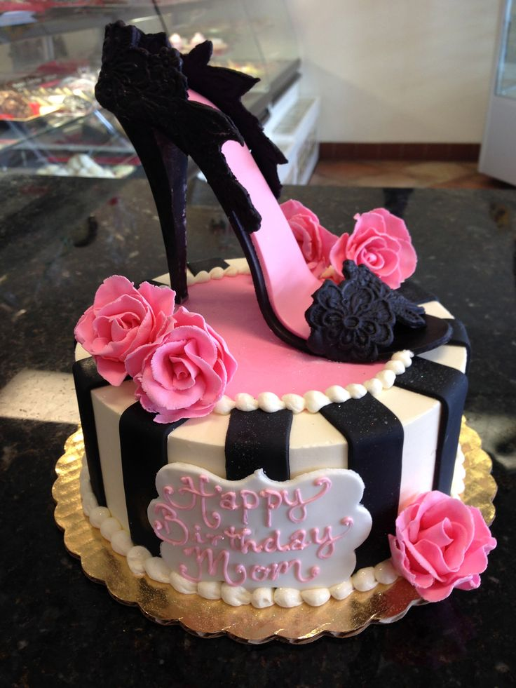 Sexy hot pink and black high heel shoe cake for that fashionable lady