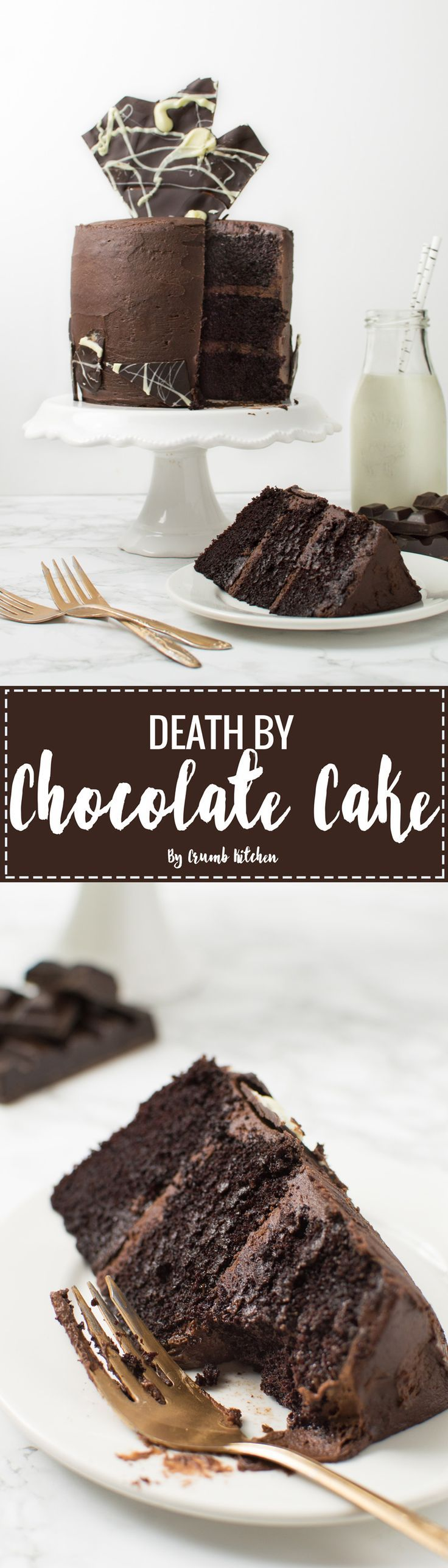 Craving chocolate? Get your intense chocolate fix through this Death by Chocolate Cake, a double chocolate three-layer masterpiece. | Crumb Kitchen