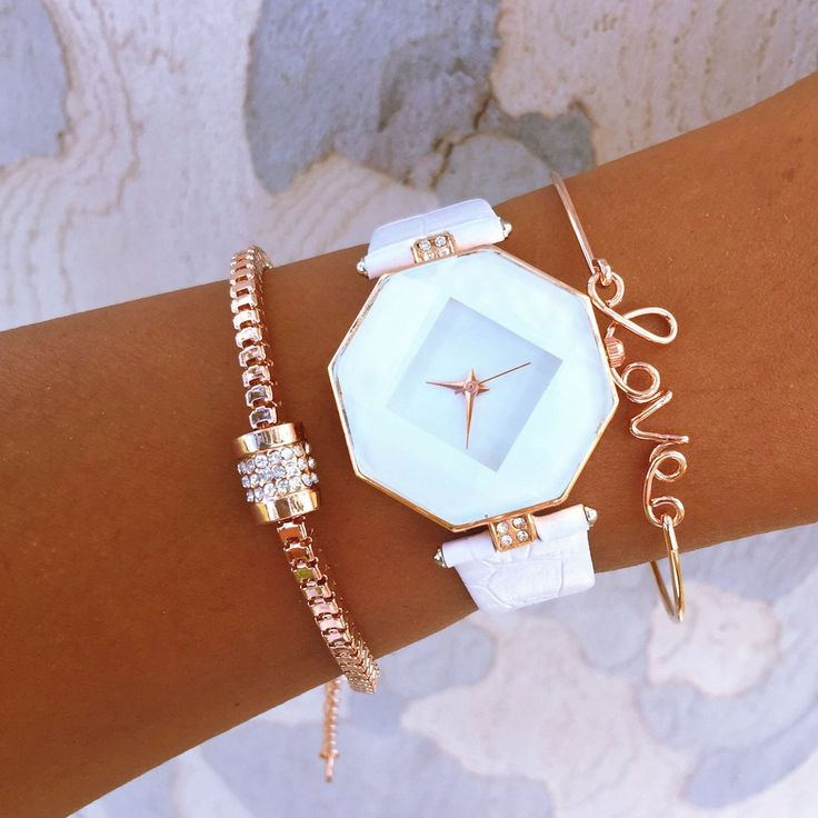 """SAMI MARI STACK Includes: Simple clasp bracelet with rhinestones. Unique octagon stainless steal watch with vegan leather band. Simple clamp """"love"""" bracelet. 20% DISCOUNT CODE RMARSHA23"""