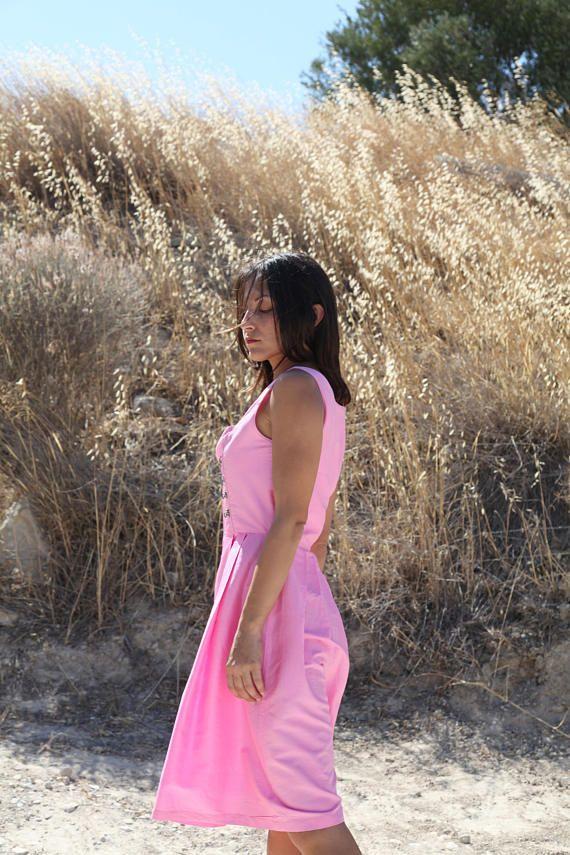 Vintage pink Seahorse silk taffeta midi dress.size 36