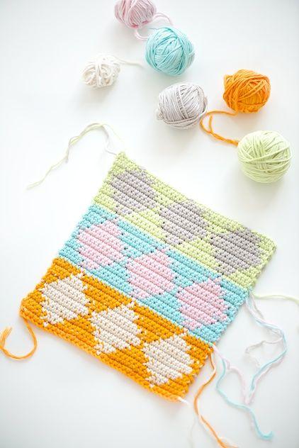 #DIY Harlequin Tapestry #Crochet dishcloths tutorial