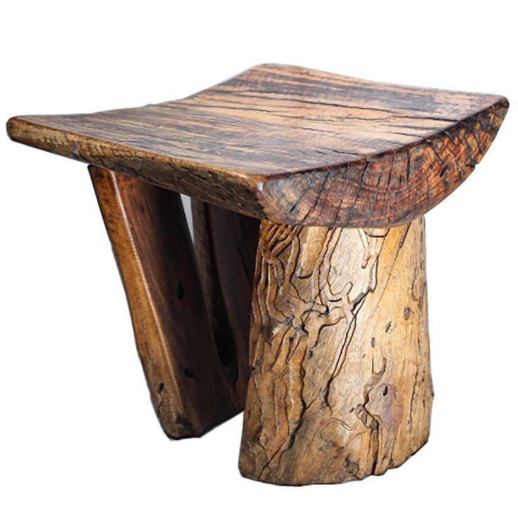 tree stump stools | Handmade Rustic Tree Stump Stool For Sale at 1stdibs