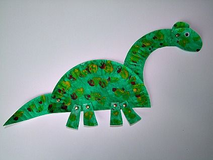 35 Amazing Paper Plate Crafts for Kids!!! example- Paper Plate Dinosaur: