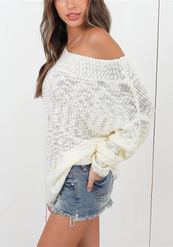 cc66d49f7b1f4d White Off Shoulder Open Back Oversized Dolman Sleeve Pullover Sweater