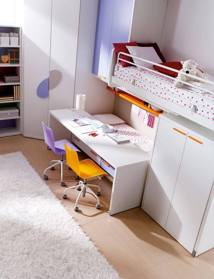 Cameretta DOIMO CITYLINE Soppalco Moving con cabina angolare e attrezzata con area studio.