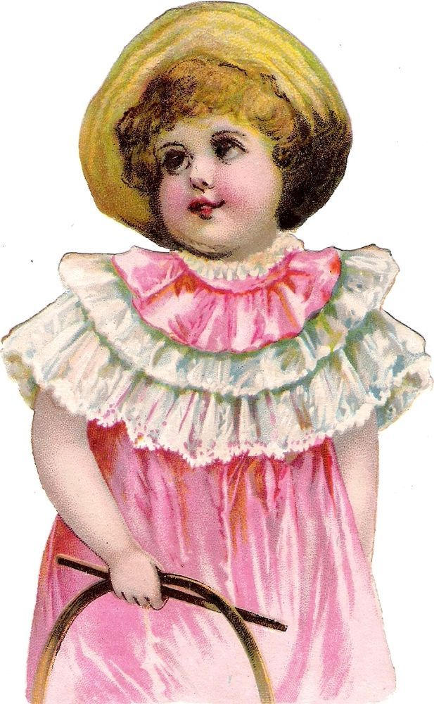 Oblaten Glanzbild scrap diecut chromo Kind child 13,8cm lady girl fille Mädchen: