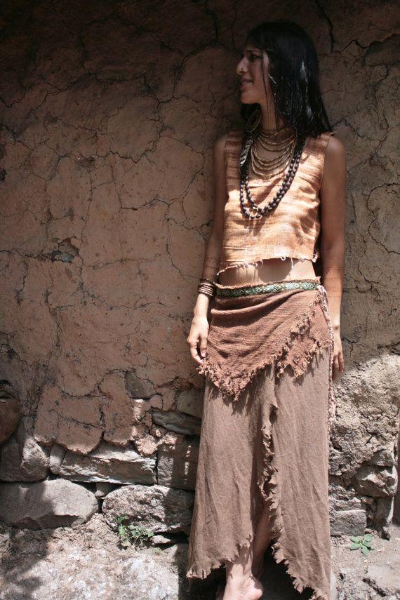 Native Tribal Brown Wrap long Skirt by AnuttaraCrafts on Etsy, $90.00