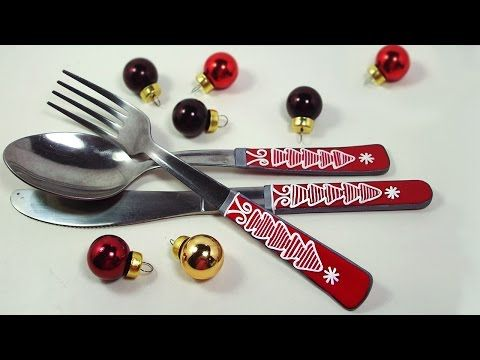 DIY Xmas Cutlery decoration - Polymer clay tutorial- Decoración cubiertos con arcillas poliméricas - YouTube