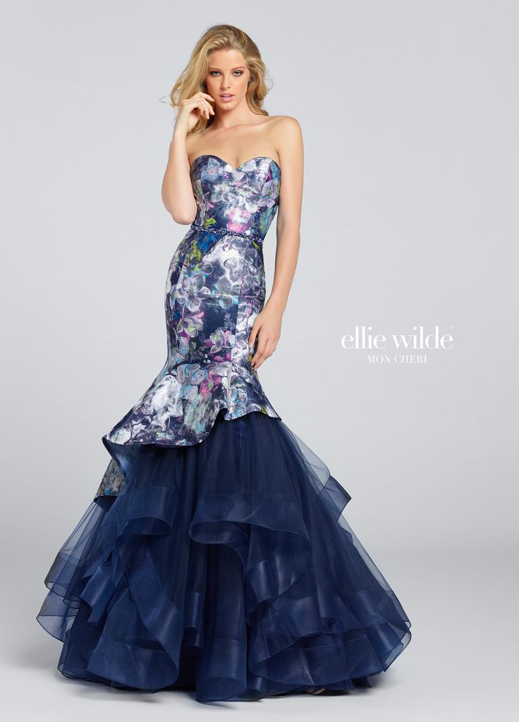 Ellie Wilde EW117161 - Strapless printed novelty jacquard mermaid gown with sweetheart neckline, hand-beaded natural waistband, asymmetrically dropped waistline, asymmetrically layered tulle underskirt with horsehair trim. Removable straps included.