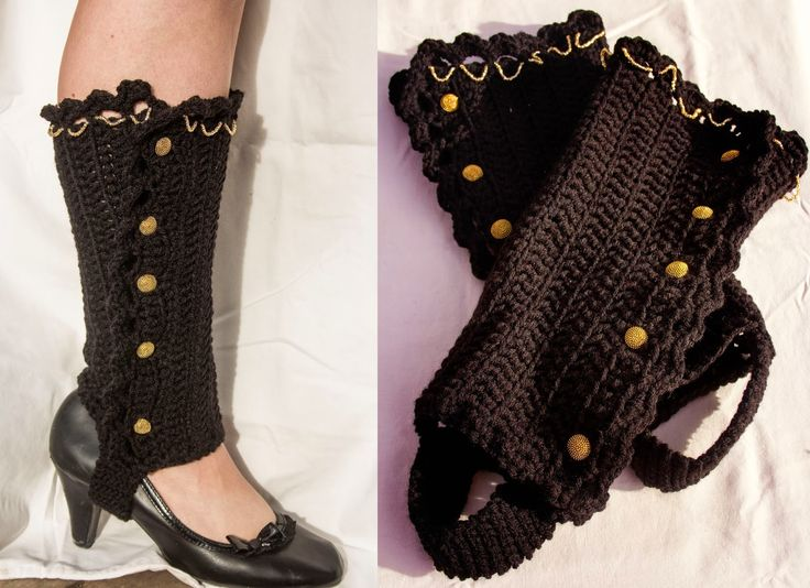 For a vintage steampunk style try these ruffled legwarmers with strap.
