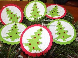 Etichete / taguri pentru cadouri handmade embossing christmas tag