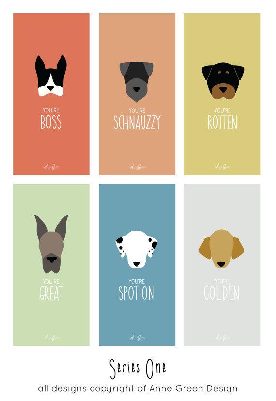 Puppy Love Valentine Card Set by AnneGreenDesign on Etsy, $7.00