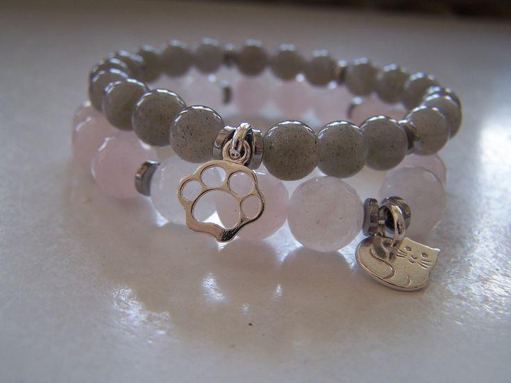Koci-łapci labradoryt, kwarc różowy i srebro /  labradorite stone, rose quartz stone and silver