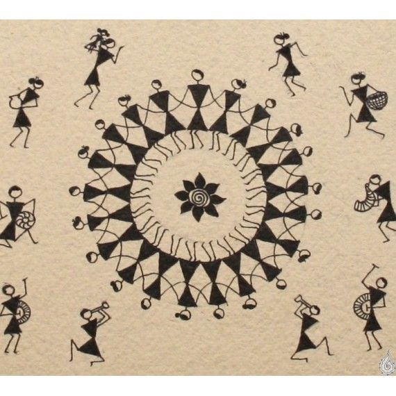 Done in simple lines, with black, on a white background, this Warli painting depicts the daily activities and festivities of the Warlis--people going about their daily chores, inside the 'hut' done on top, and festivities in progress below.The...
