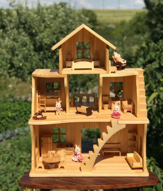 Wooden Dollhouse Stackable Three Story Dollhouse 1 16 Scale Etsy Wooden Dollhouse Doll House Dollhouse Furniture