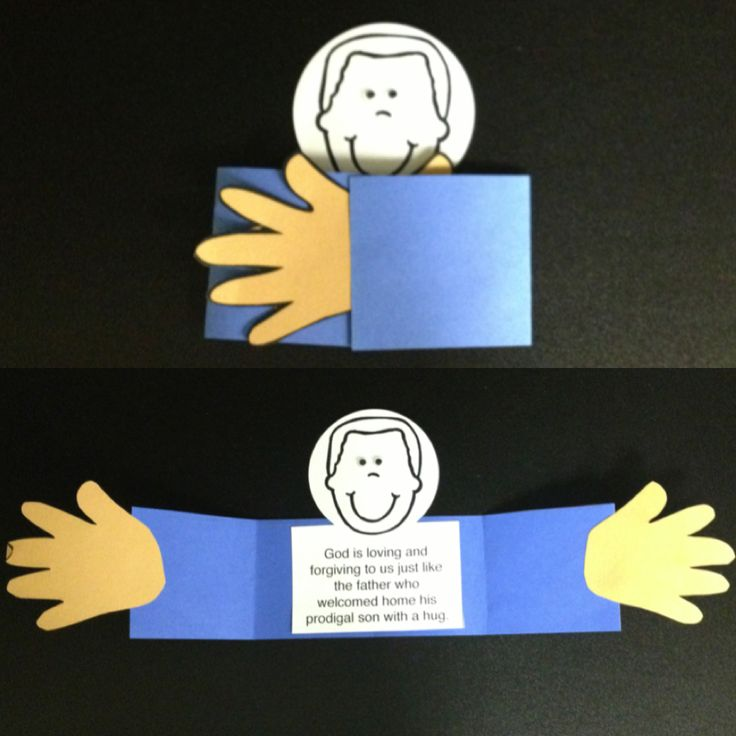 Lesson 6 (preschool): Parable of the prodigal son - accordion between hands - write a message on both hands, attaching the two hands with a paper accordion thing - on the inside section (no face), include sponsor,  - one hand: message to sponsor; things