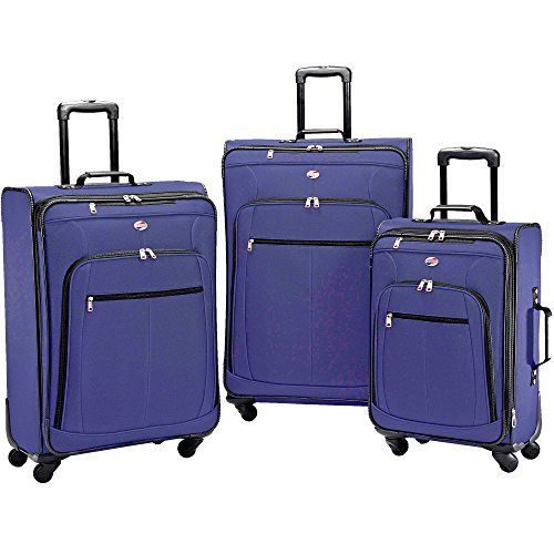 American Tourister 64590 AT Pop Plus Suitcase 3 Piece Set (One Size Navy)