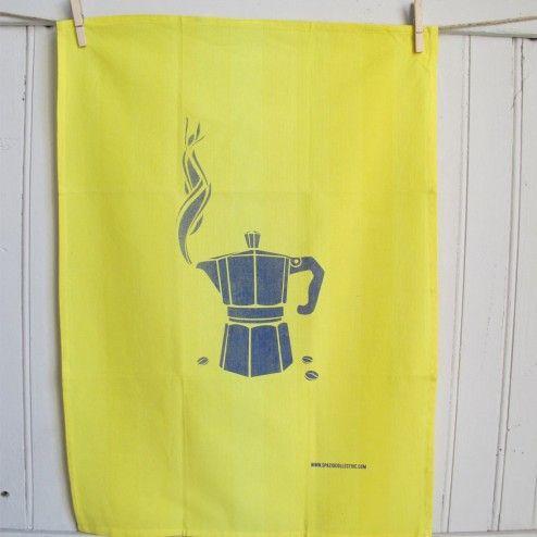 Canovaccio in cotone giallo con moka #cucina #kitchen