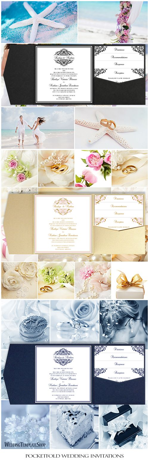 print yourself wedding invitations kit%0A Pocket Fold Wedding Invitations Grace Black Square
