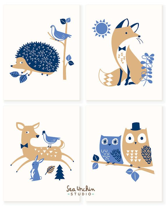 Forest Woodland Art Prints More colors by SeaUrchinStudio on Etsy
