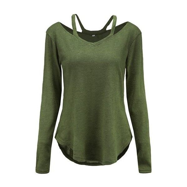 Rotita Long Sleeve V Neck Army Green Curved Sweater ($26) ❤ liked on Polyvore featuring tops, sweaters, army green, long sweater, olive sweater, long sleeve sweater, v neck sweater and pullover sweaters